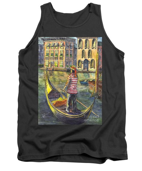 Tank Top featuring the painting Sunset On Venice - The Gondolier by Carol Wisniewski
