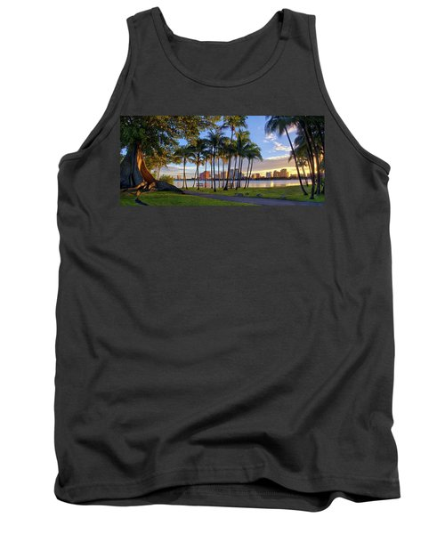 Tank Top featuring the photograph Sunset Over Downtown West Palm Beach From Palm Beach Island by Justin Kelefas