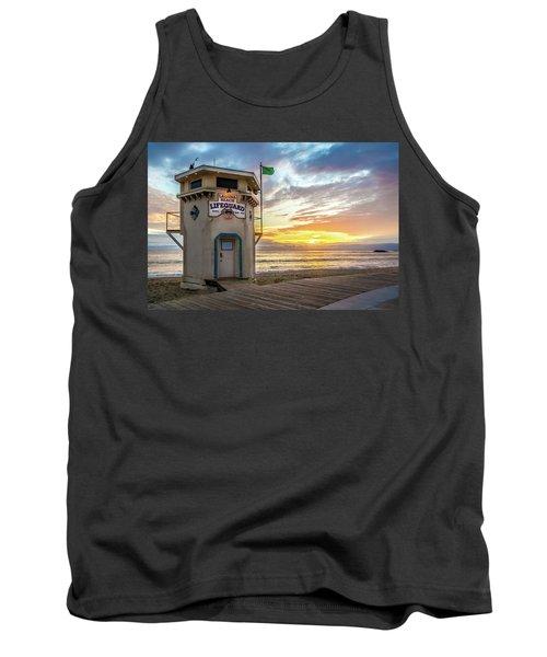 Sunset Over Laguna Beach Lifeguard Station Tank Top