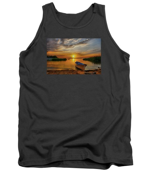 Sunset Over Lake Tank Top by Lilia D