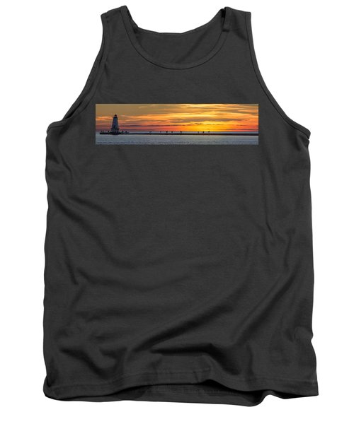 Tank Top featuring the photograph Sunset Over Ludington Panoramic by Adam Romanowicz