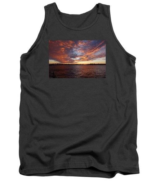 Sunset Over Manasquan Inlet Tank Top by Melinda Saminski