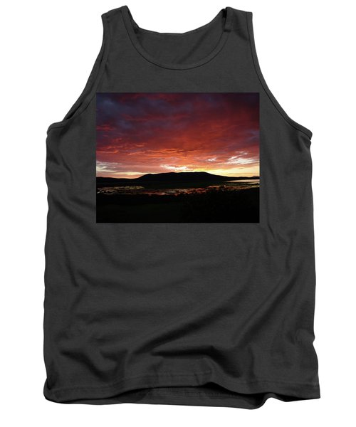 Tank Top featuring the painting Sunset Over Mormon Lake by Dennis Ciscel