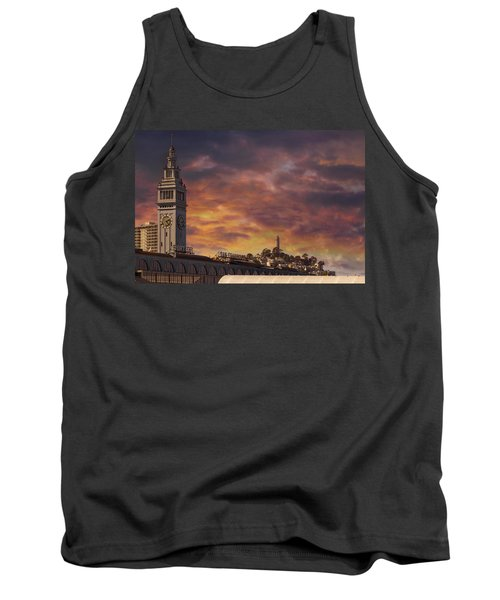 Sunset Over Port Of San Francisco Ferry Building Tank Top