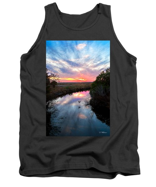 Sunset Over The Marsh Tank Top