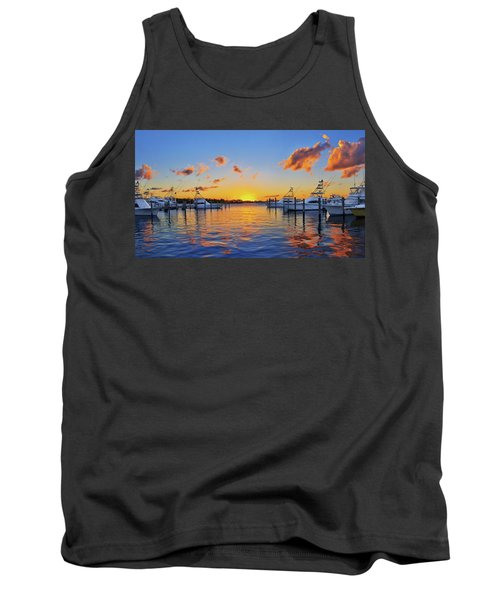 Sunset Over The Sailfish Marina In Riviera Beach Florida Tank Top