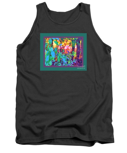 Sunset Thru The Trees Green Border Tank Top