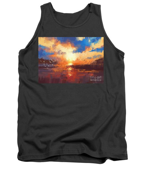 Tank Top featuring the painting Sunset by Tithi Luadthong