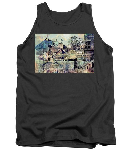 Tank Top featuring the digital art Sunsets And Blue Point Collage by Susan Stone