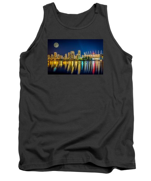 Tank Top featuring the photograph Super Moon Over Vancouver  by Sabine Edrissi