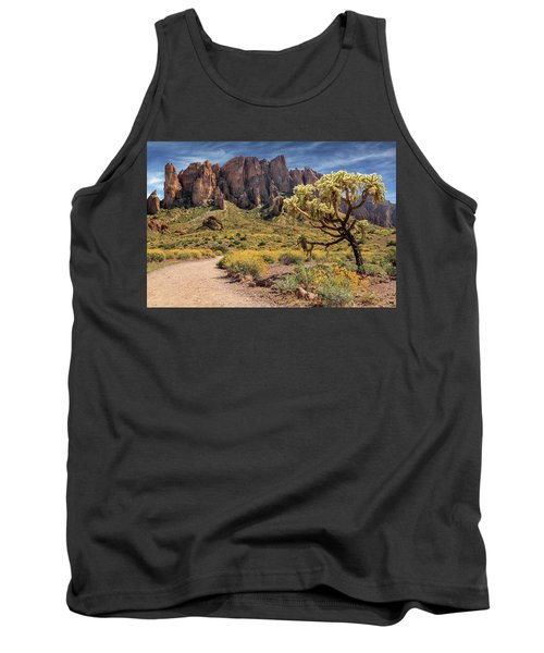 Superstition Mountain Cholla Tank Top by James Eddy
