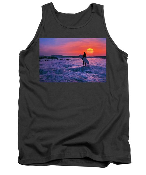 Tank Top featuring the photograph Surfer On Rock Looking Out From Blowing Rocks Preserve On Jupiter Island by Justin Kelefas