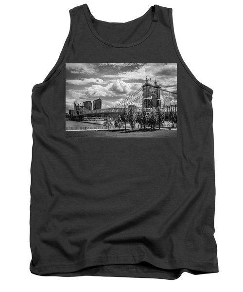 Suspension Bridge Black And White Tank Top by Scott Meyer