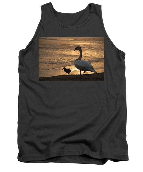 Tank Top featuring the photograph Swan And Baby At Sunset by Richard Bryce and Family
