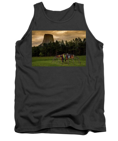 Tank Top featuring the photograph Sweat Lodge At Devil's Tower by Gary Lengyel