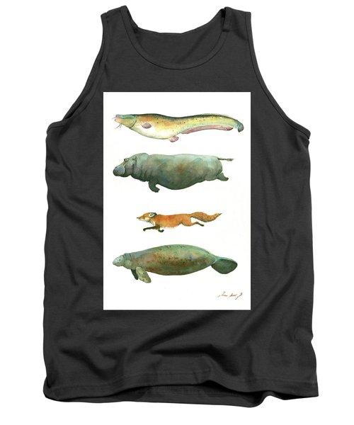 Swimming Animals Tank Top by Juan Bosco