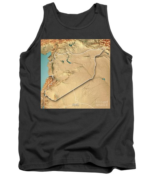 Syria Country 3d Render Topographic Map Border Tank Top