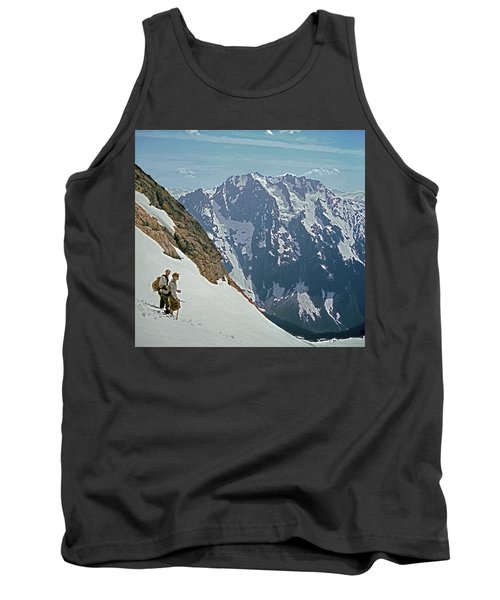 T-04402 Fred Beckey And Joe Hieb After First Ascent Forbidden Peak Tank Top