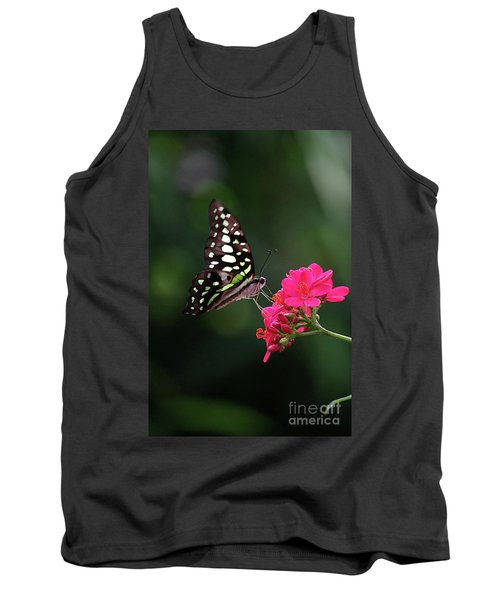 Tailed Jay Butterfly -graphium Agamemnon- On Pink Flower Tank Top