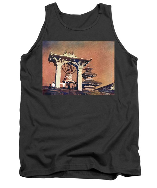 Tank Top featuring the painting Taleju Bell- Patan, Nepal by Ryan Fox