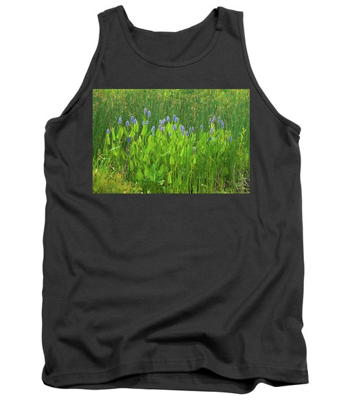 Tall Purple And Blue Blooming Flowers Tank Top