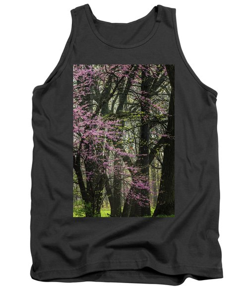 Tall Red Buds In Spring Tank Top by Joni Eskridge
