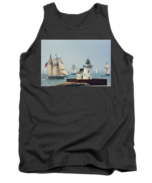Tall Ships At Cleveland Lighthouse Tank Top