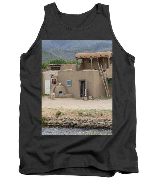Taos Pueblo Adobe House With Pots Tank Top
