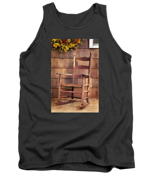 Tank Top featuring the photograph Tappan Chairs Rocker, Sandwich, Nh by Betty Denise