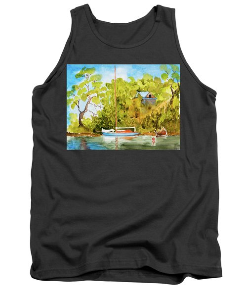 Tank Top featuring the painting Tasmanian Yacht 'weene' 105 Year Old A1 Design by Dorothy Darden