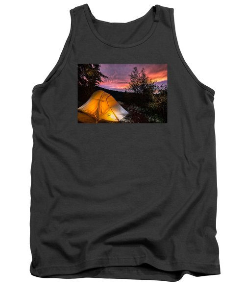 Tent At Sunset Tank Top by Michael J Bauer