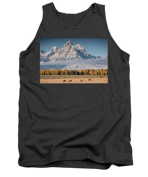 Tank Top featuring the photograph Teton Horses by Wesley Aston