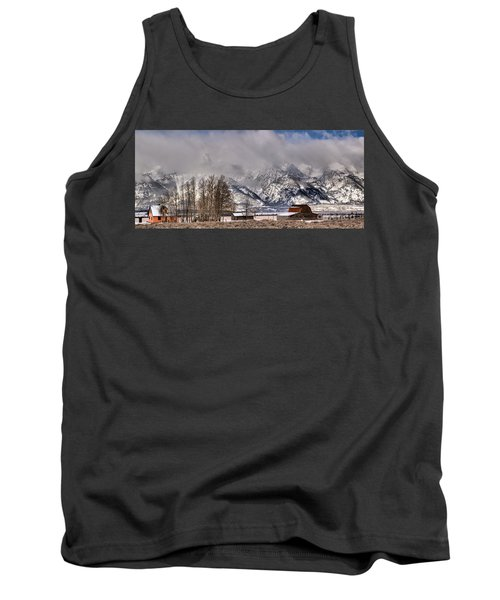 Tank Top featuring the photograph Teton Mormon Row Panorama by Adam Jewell