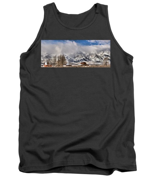 Tank Top featuring the photograph Teton Mountains Over Mormon Row by Adam Jewell
