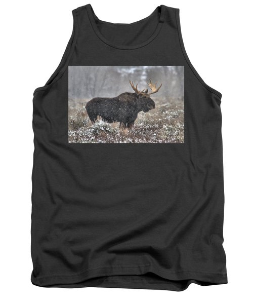 Tank Top featuring the photograph Teton Snowy Moose by Adam Jewell
