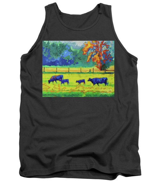 Tank Top featuring the painting Texas Cows And Calves At Sunset Painting T Bertram Poole by Thomas Bertram POOLE