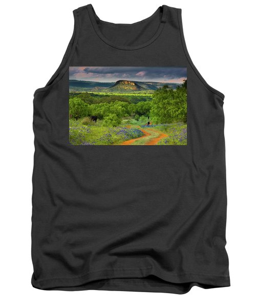 Tank Top featuring the photograph Texas Hill Country Ranch Road by Darryl Dalton