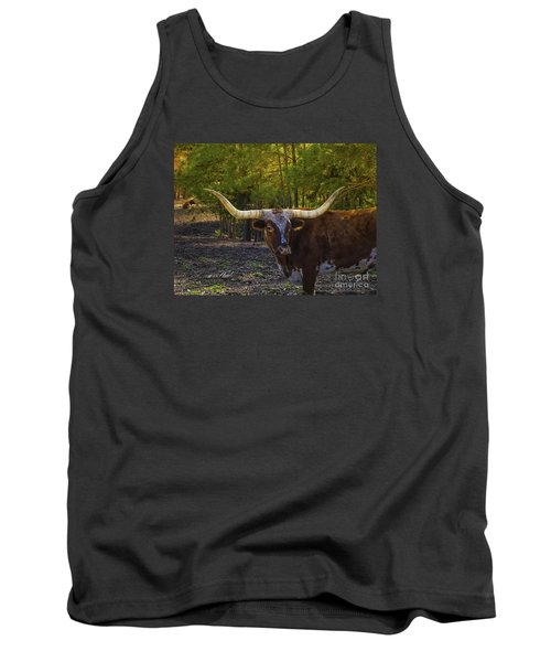 Tank Top featuring the photograph Texas Long Horn Bull by Melissa Messick