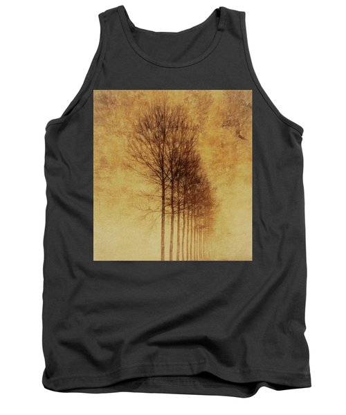 Tank Top featuring the mixed media Textured Eerie Trees by Dan Sproul