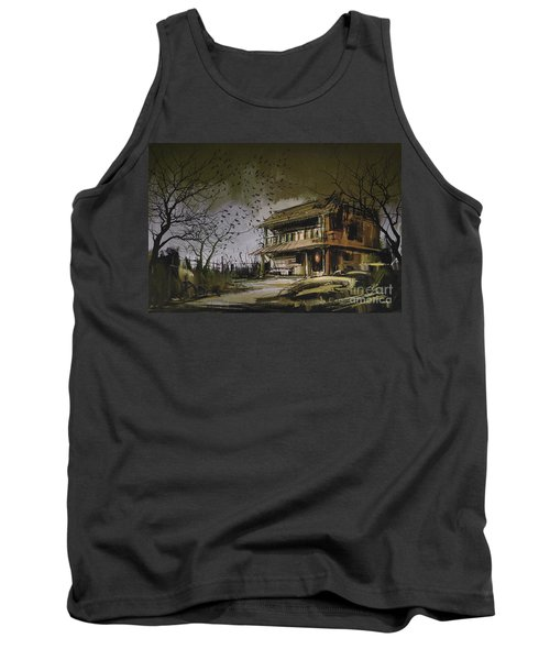 Tank Top featuring the painting The Abandoned House by Tithi Luadthong