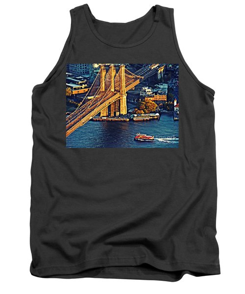 Tank Top featuring the photograph The Brooklyn Bridge At Sunset   by Sarah Loft