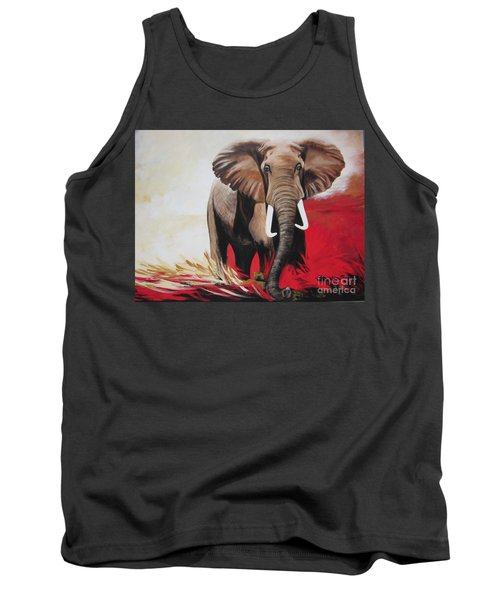 Tank Top featuring the painting The Bull Elephant - Constitution by Sigrid Tune
