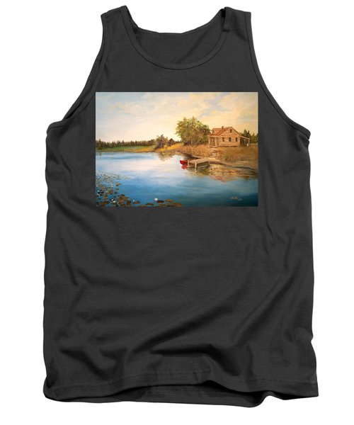 Tank Top featuring the painting The Cabin by Alan Lakin