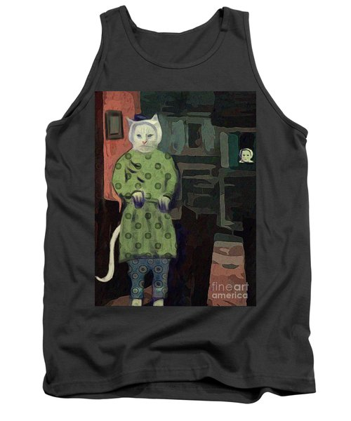 Tank Top featuring the digital art The Cat's Pajamas by Alexis Rotella
