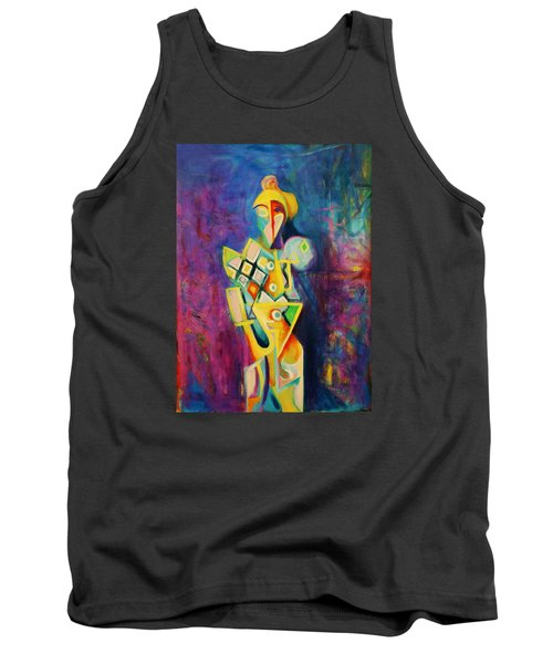 Tank Top featuring the painting The Clown by Kim Gauge
