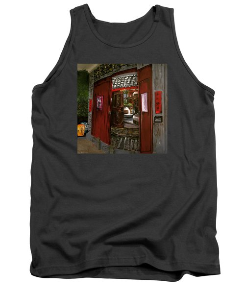 Tank Top featuring the painting The Red Door by Belinda Low