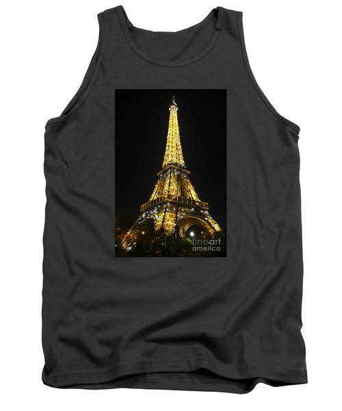The Eiffel Tower At Night Illuminated, Paris, France. Tank Top by Perry Van Munster
