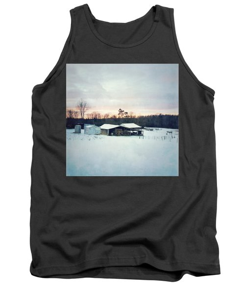 The Farm In Snow At Sunset Tank Top