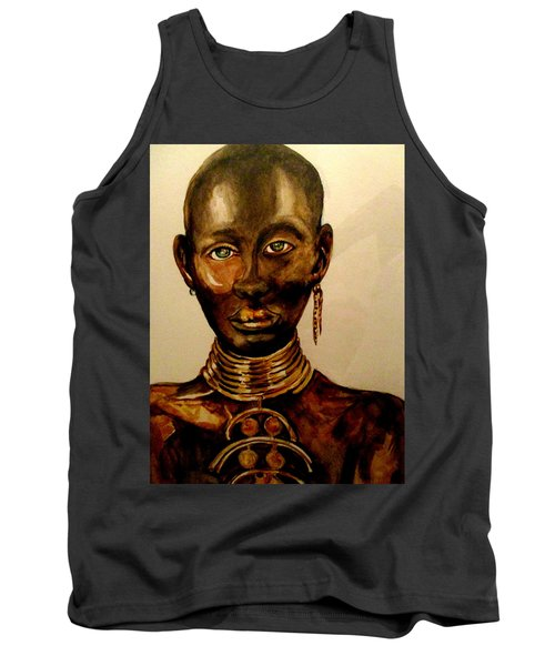 Tank Top featuring the painting The Golden Black by Yolanda Rodriguez