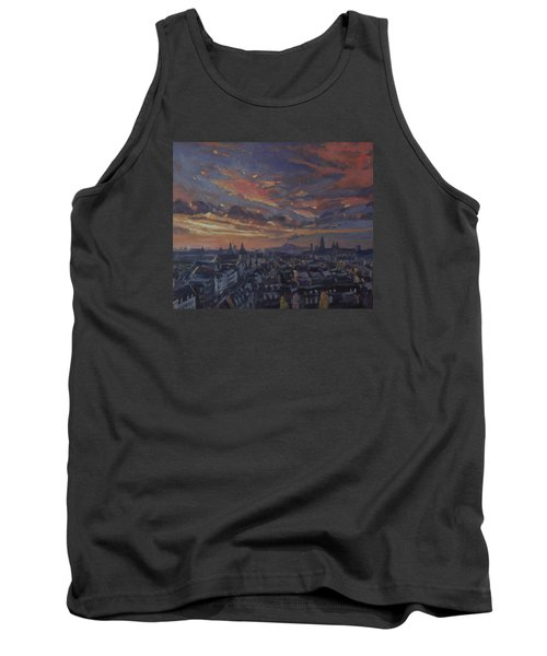 Tank Top featuring the painting The Golden Hour Maastricht by Nop Briex